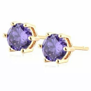 ROUND CUT AMETHYST GOLD PLATED STUD EARRINGS